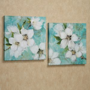 flowers-bloom-giclee-wall-art-canvas-white-set-beauty-nature-aqua-works-blossoms-prints-embellished-silver-foil-accents